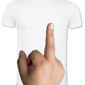 Flipping the finger T-shirt for sale at Funky Presents